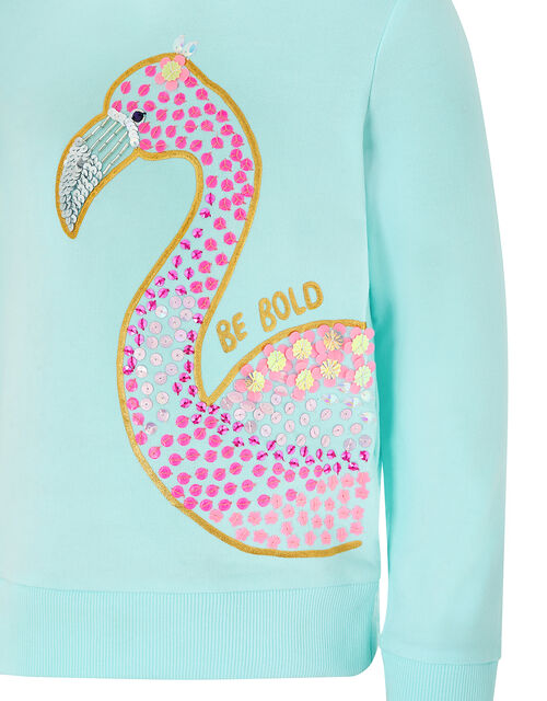 Dana Embellished Flamingo Hoody, Blue (TURQUOISE), large