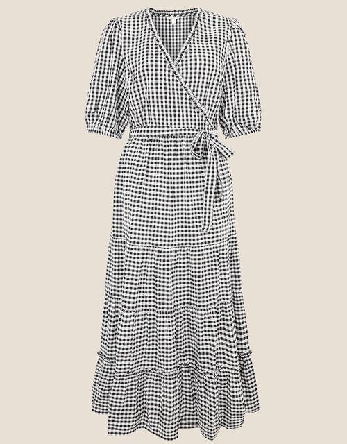 Gingham Wrap Dress, Black (BLACK), large