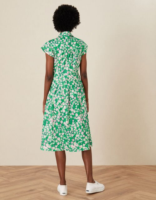 Ditsy Floral Jersey Shirt Dress, Green (GREEN), large