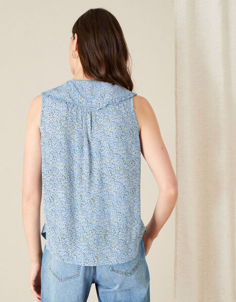 Fiona Ditsy Print Collar Sleeveless Top Blue, Blue (BLUE), large