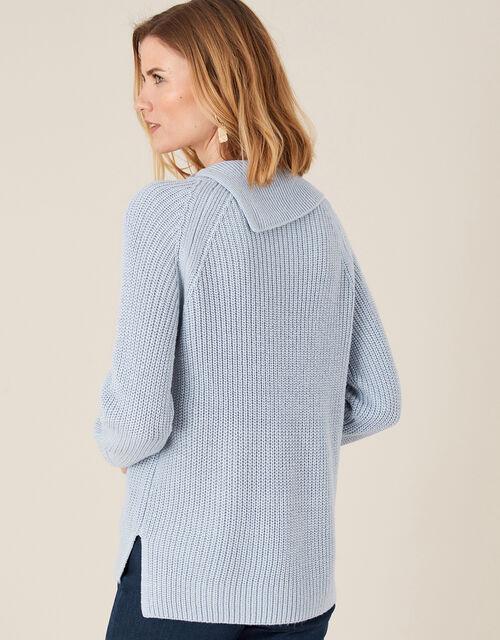 Split Neck Knit Jumper, Blue (BLUE), large