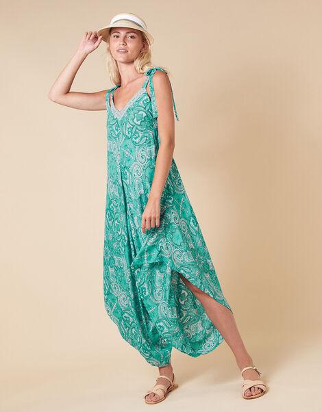 Paisley Print Romper in LENZING™ ECOVERO™ Green, Green (GREEN), large