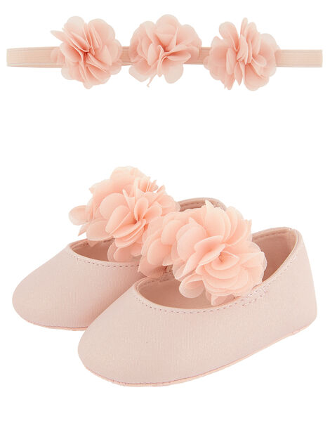Baby Macaroon Corsage Bando and Bootie Set Pink, Pink (PINK), large
