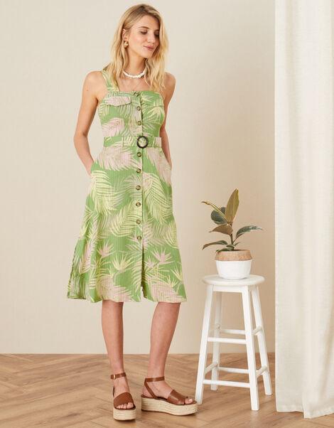 Palm Print Dress  Green, Green (GREEN), large