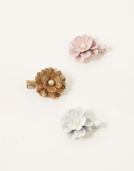 Glitter Flower Clip Set, , large