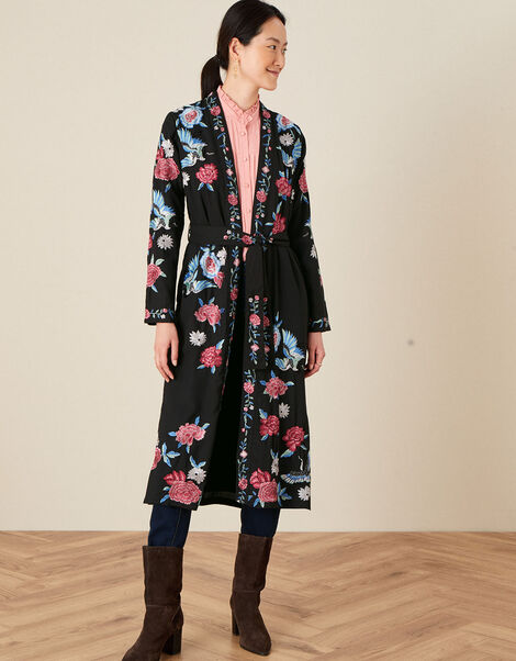 Elizabeth Embroidered Kimono  Black, Black (BLACK), large