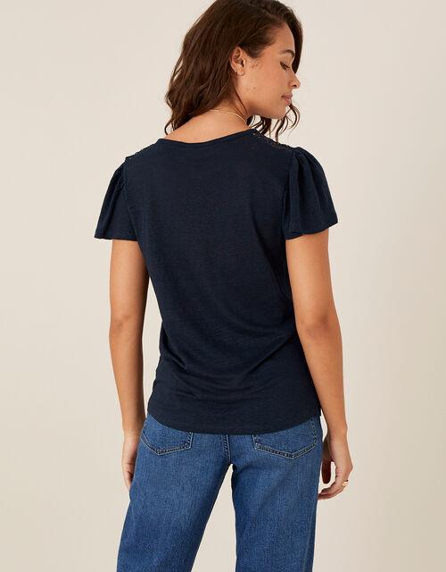 Flutter Sleeve T-Shirt in Pure Linen, Blue (NAVY), large