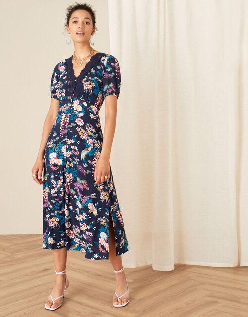 Oriental Print Lace Trim Dress, Blue (NAVY), large