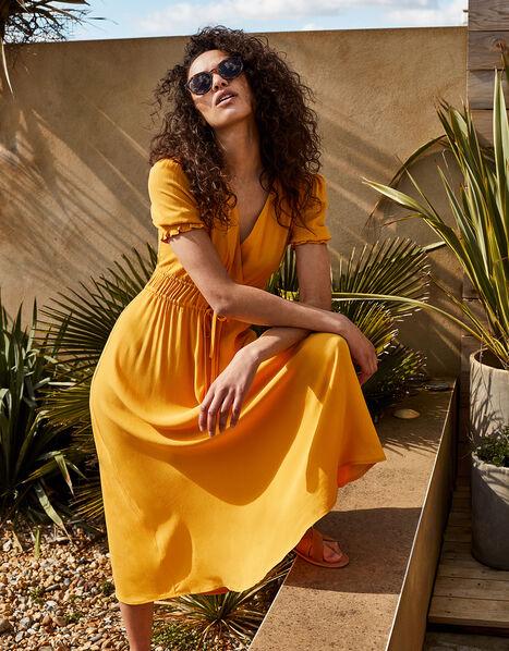 Ruched Midi Dress Yellow, Yellow (OCHRE), large