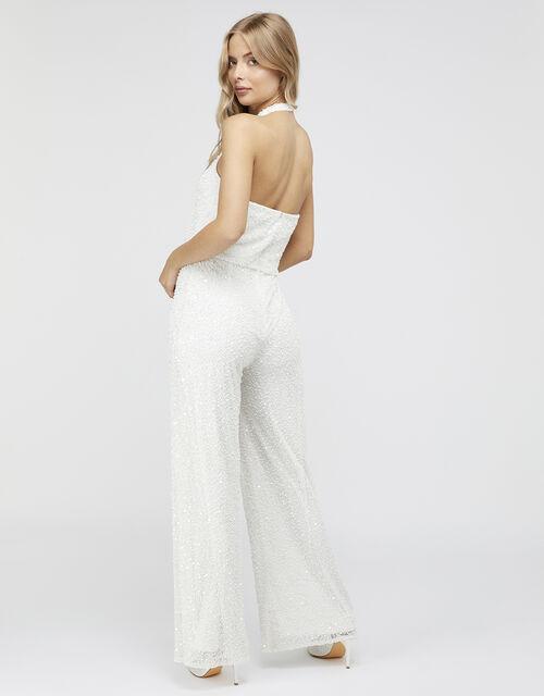 Diana Bridal Embellished Halter Jumpsuit, Ivory (IVORY), large