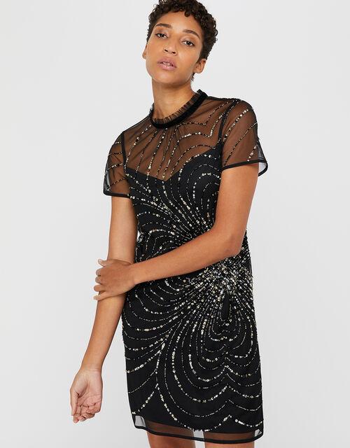 Chloee Embellished Short Dress, Black, large
