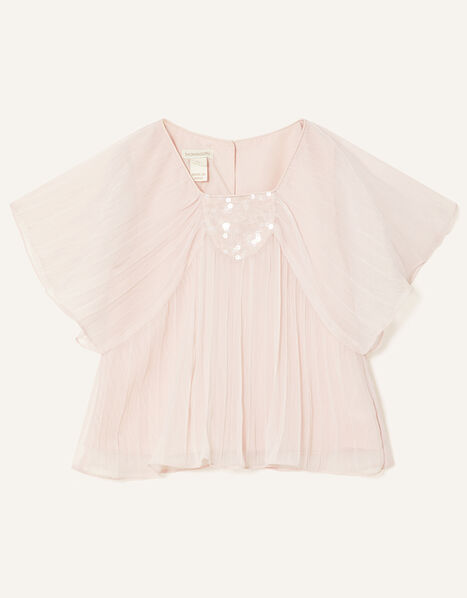 Pleated Chiffon Top Pink, Pink (PALE PINK), large