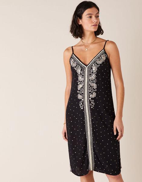 Embellished Crinkle Midi Dress in LENZING™ ECOVERO™  Black, Black (BLACK), large