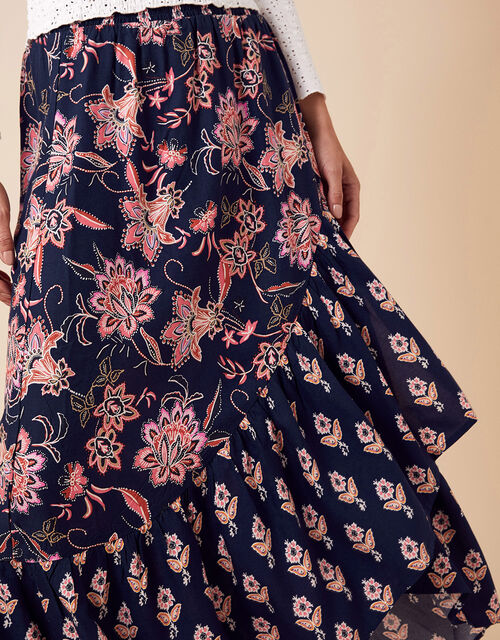Floral Print Midi Skirt in LENZING™ ECOVERO™, Blue (NAVY), large