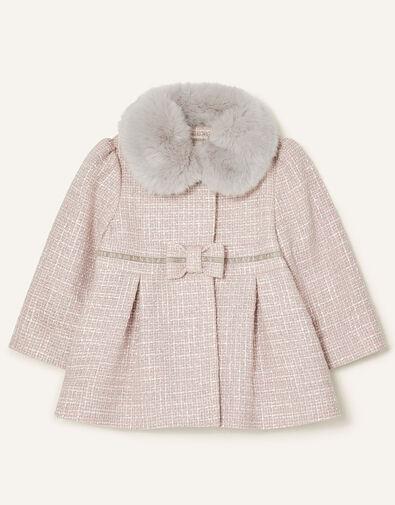 Baby Bow Tweed Coat Grey, Grey (GREY), large