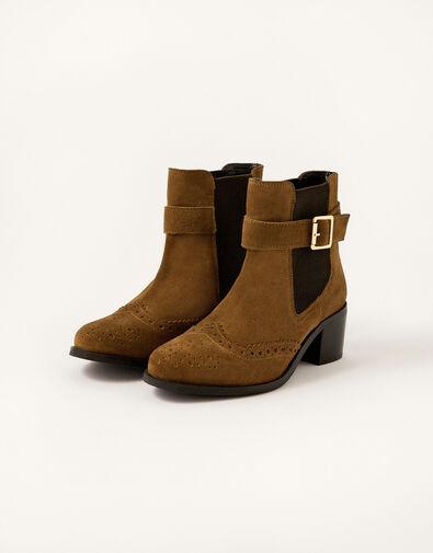 Sasha Suede Brogue Ankle Boots Tan, Tan (TAN), large
