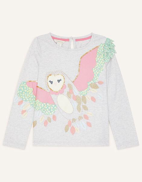 Owl 3D Applique Top Grey, Grey (GREY), large