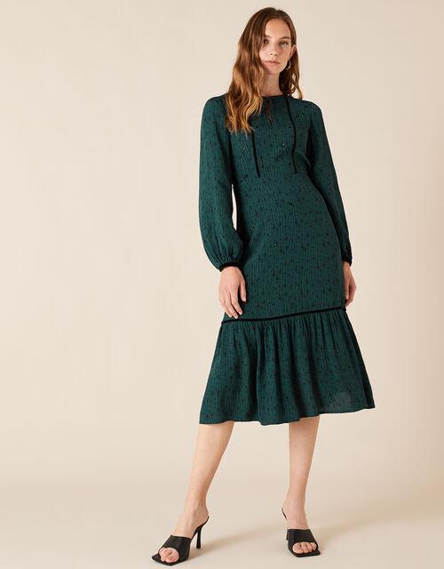 Printed Midi Dress, Green (DARK GREEN), large