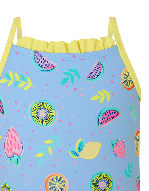 Baby Fruit Print Frill Swimsuit, Blue (BLUE), large