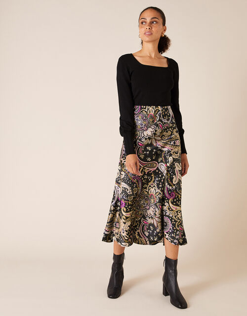 Paisley Print Satin Midi Skirt, Black (BLACK), large