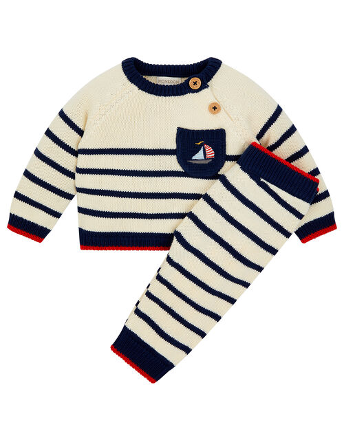 Newborn Boat and Stripe Knit Set, Blue (NAVY), large