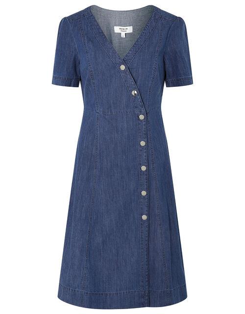 Denim Wrap Midi Dress, Blue (DENIM BLUE), large
