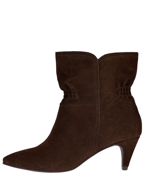 Ruched Suede Ankle Boots, Brown (CHOCOLATE), large