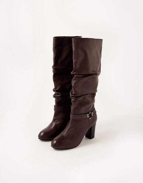 Belle Buckle Slouch Leather Boots Red, Red (BURGUNDY), large