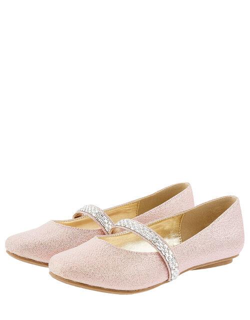 Embellished Strap Shimmer Ballerina Flats, Pink (PINK), large
