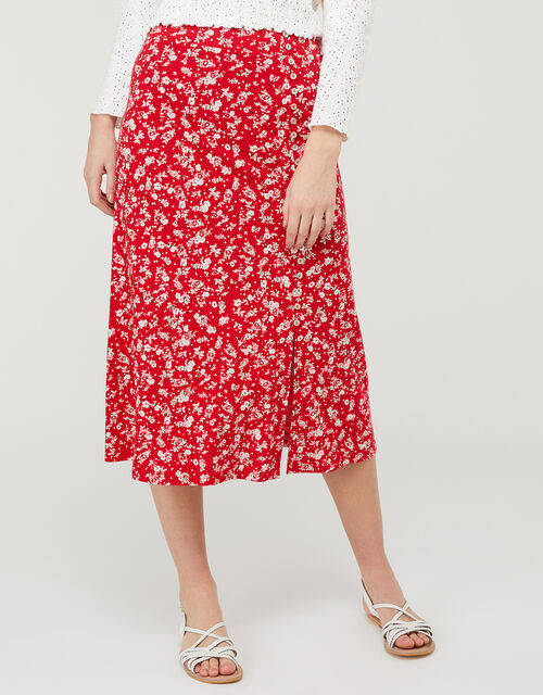 Natty Ditsy Floral Midi Skirt, Red (RED), large