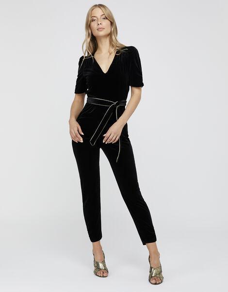 Kimberley Velvet Jumpsuit Black, Black (BLACK), large