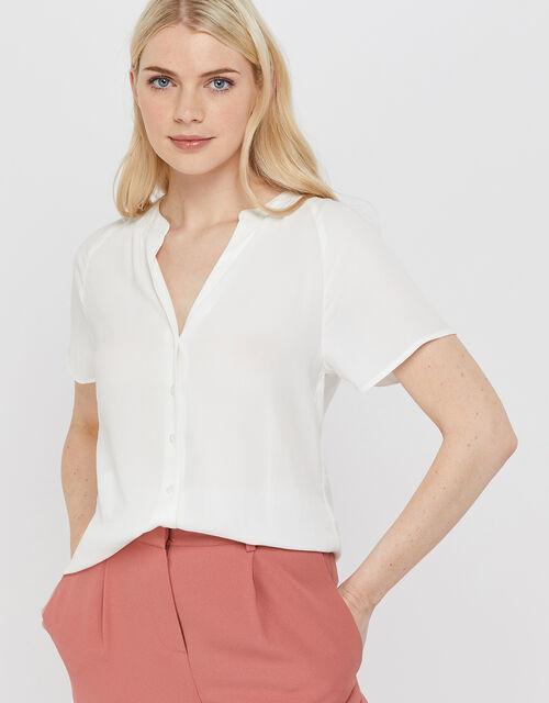Zinnia Short Sleeve Blouse, Ivory, large