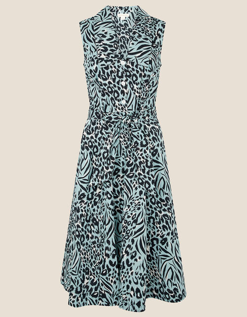 Animal Print Poplin Dress, Green (GREEN), large
