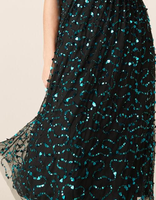 Aphrodite Heart Sequin Midi Dress, Black (BLACK), large