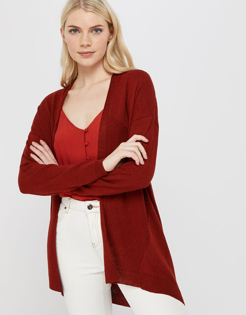 Cyndi Cardigan in Linen Blend, Rust, large
