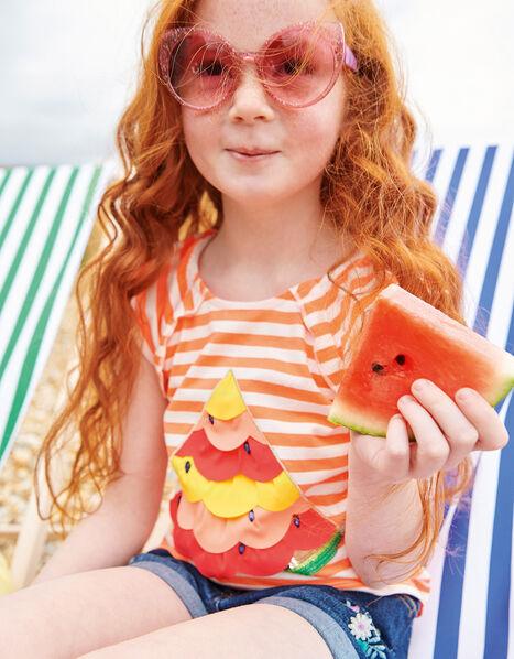 Sequin Watermelon Stripe Top Orange, Orange (ORANGE), large