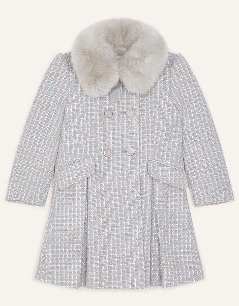 Tweed Faux Fur Collar Coat Grey, Grey (GREY), large