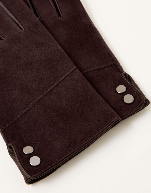 Leather and Suede Gloves, Brown (CHOCOLATE), large