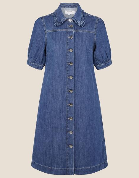 Ruffle Collar Denim Dress Blue, Blue (DENIM BLUE), large