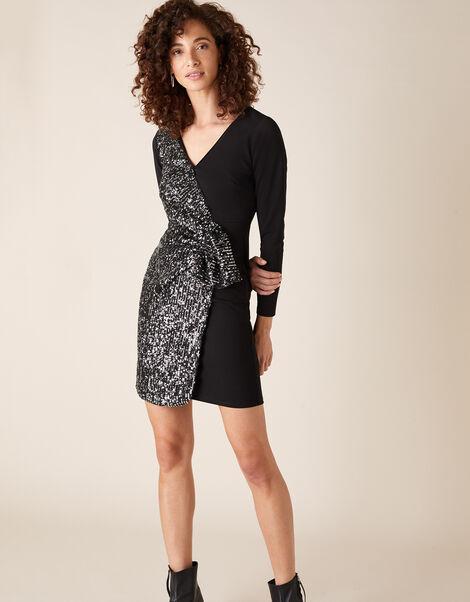 Ava Sequin Stretch Wrap Dress Black, Black (BLACK), large