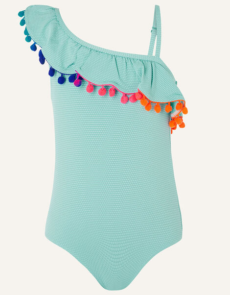 One Shoulder Frill Textured Swimsuit  Blue, Blue (TURQUOISE), large