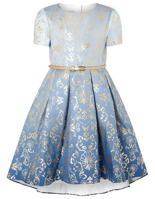 Ombre Foil Print Dress, Blue (BLUE), large