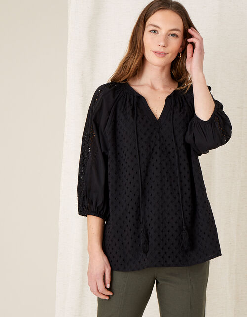 Broderie Top, Black (BLACK), large