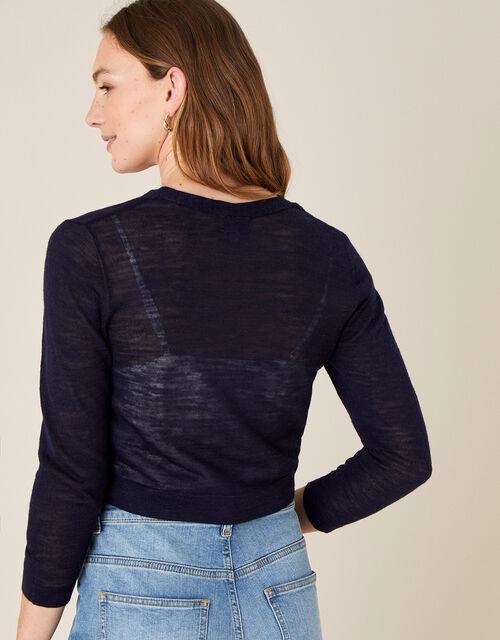 Button Shrug in Linen Blend, Blue (NAVY), large