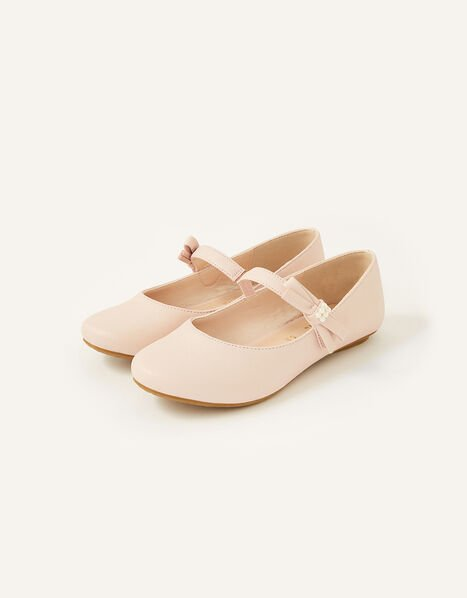 Shimmer Pearl Bow Ballerina Flats  Pink, Pink (PINK), large