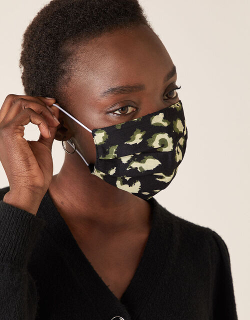 Animal Pleated Face Mask in Pure Cotton, , large