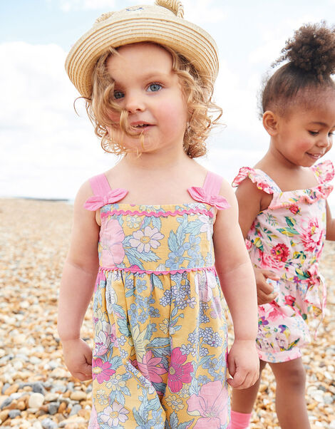 Baby Floral Jumpsuit in Linen Blend Yellow, Yellow (YELLOW), large