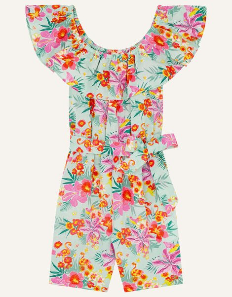 Tropical Flamingo Playsuit in Linen Blend Blue, Blue (AQUA), large