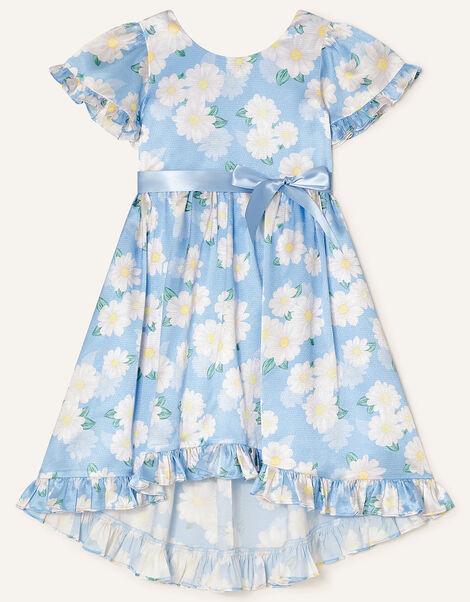 Daisy Print Satin Dress  Blue, Blue (BLUE), large