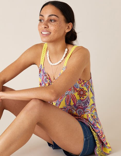 Floral Cami Top in Sustainable Viscose Yellow, Yellow (YELLOW), large